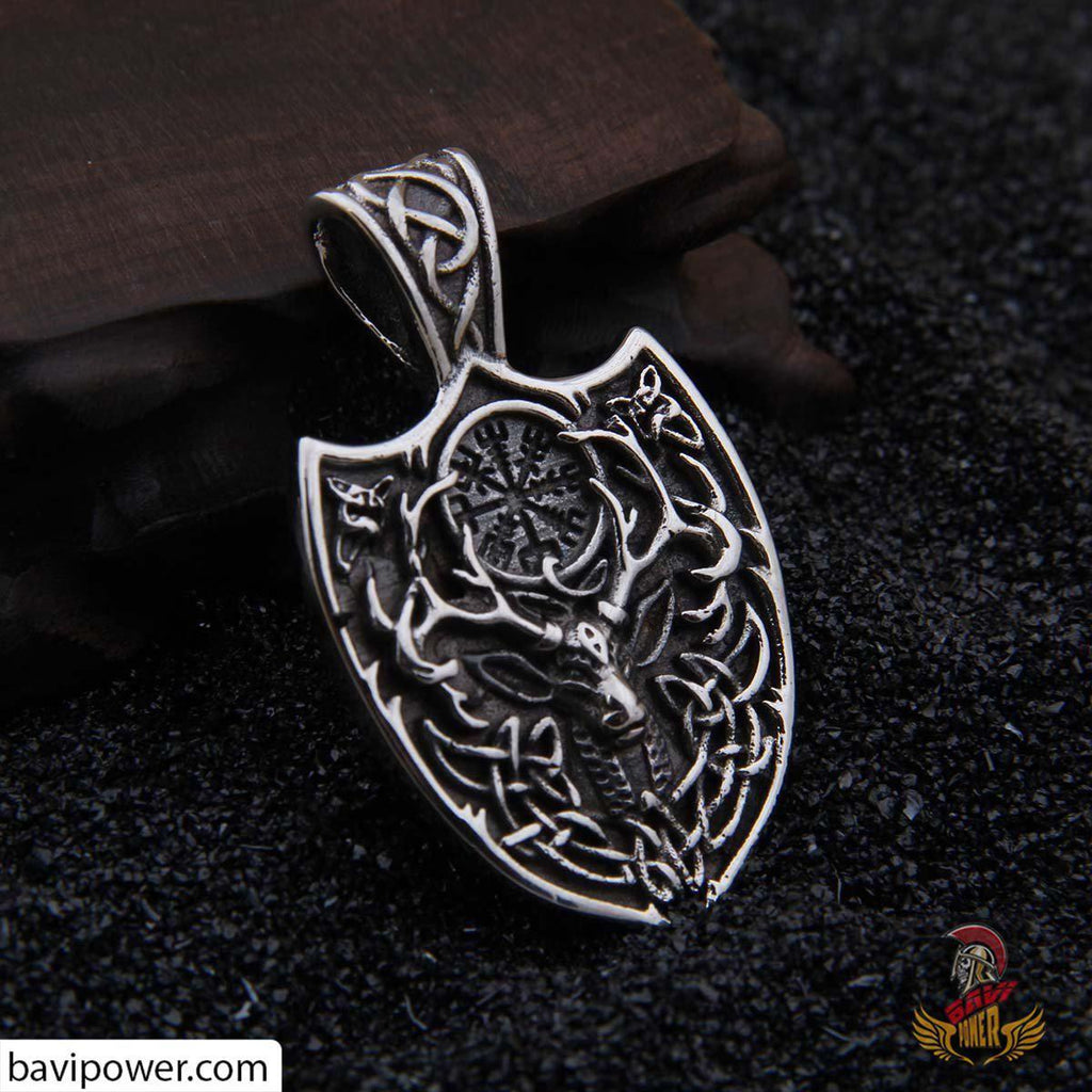 Viking Deer Shield Pendant