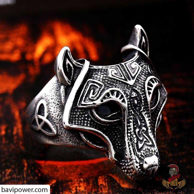Viking Fenrir Wolf Head Ring