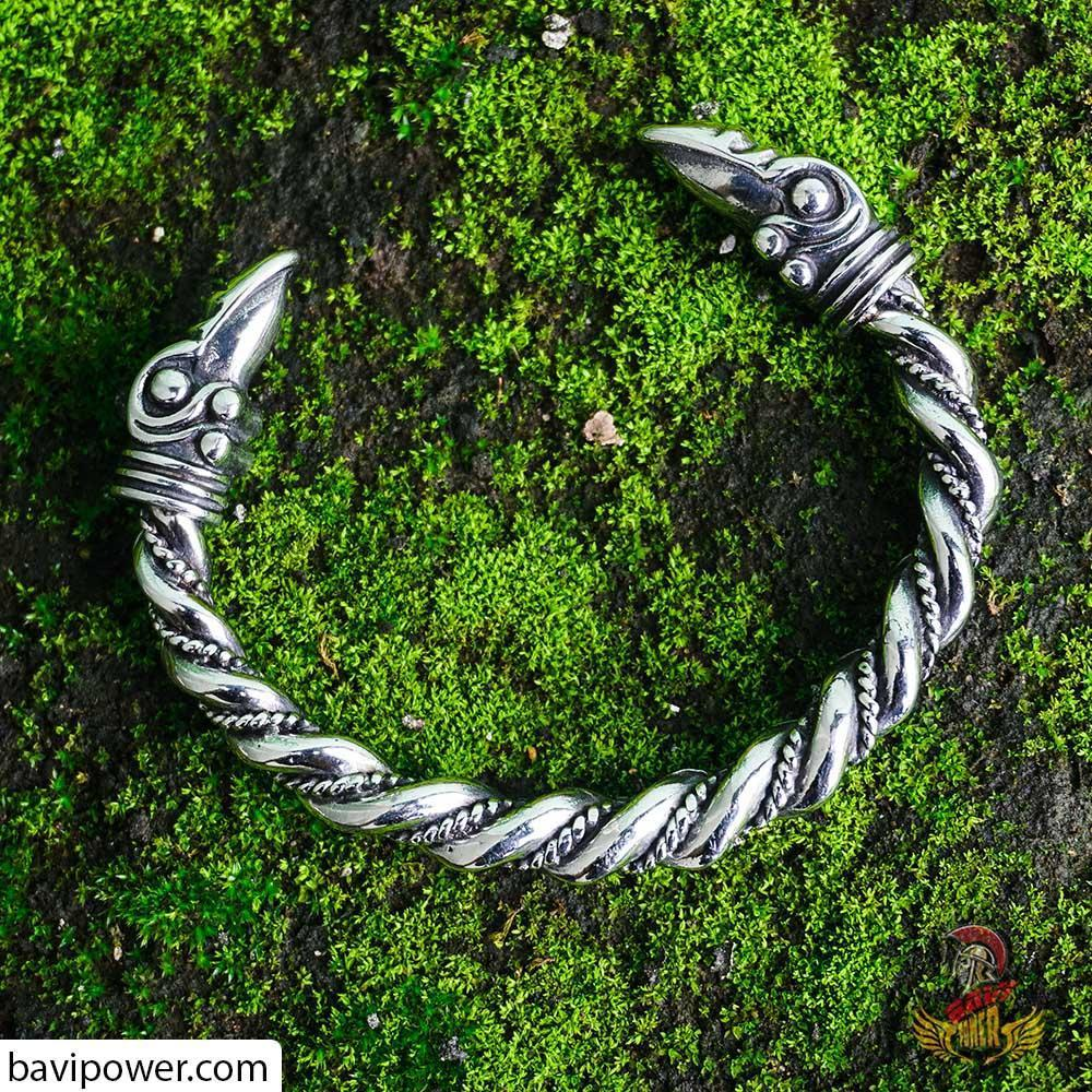 Viking Raven Head Bracelet