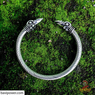 Viking Raven Head Flexible Bracelet
