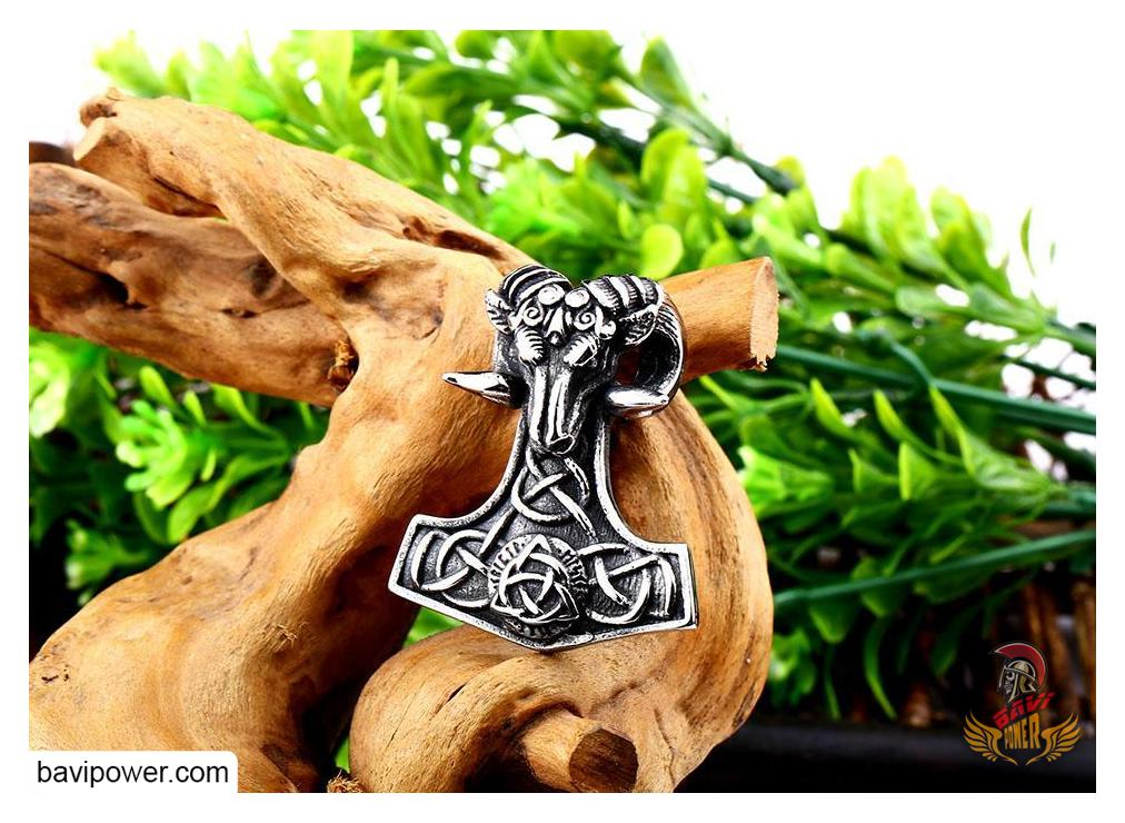 Viking Sheep Head Mjolnir Hammer Pendant