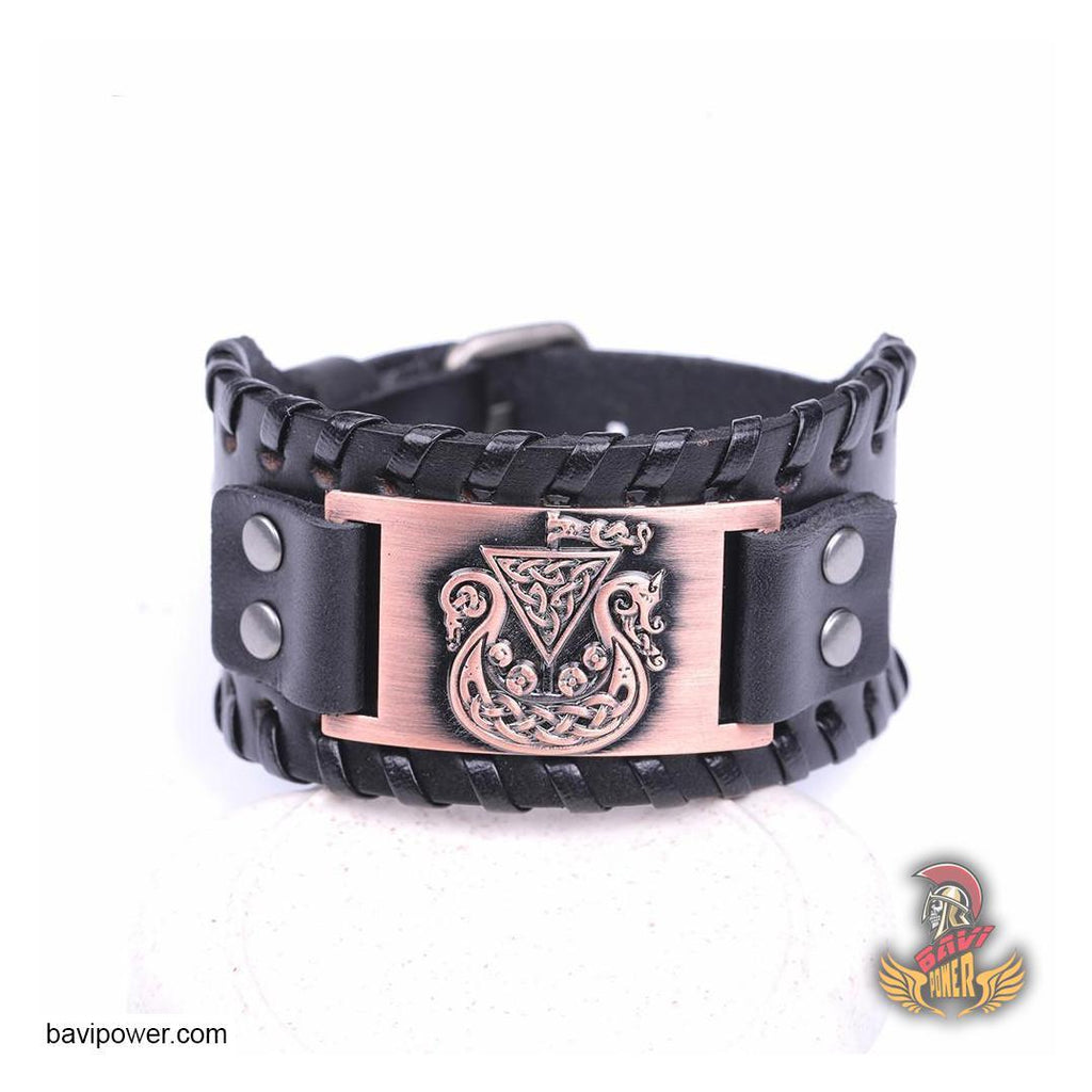 Viking Ship Braided Genuine Leather Bangle Bracelet