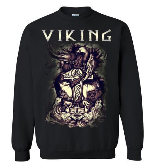 bavipower-viking-jewelry-Viking T-shirt BVP001-BaViPower-Gildan Crewneck Sweatshirt-Black-S-BaViPower