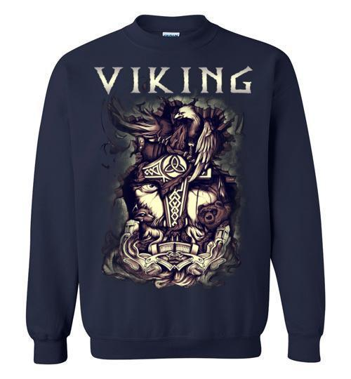 bavipower-viking-jewelry-Viking T-shirt BVP001-BaViPower-Gildan Crewneck Sweatshirt-Navy-S-BaViPower