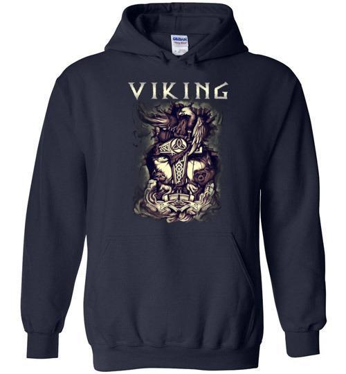 bavipower-viking-jewelry-Viking T-shirt BVP001-BaViPower-Gildan Heavy Blend Hoodie-Navy-S-BaViPower