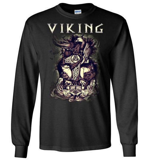 bavipower-viking-jewelry-Viking T-shirt BVP001-BaViPower-Gildan Long Sleeve T-Shirt-Black-S-BaViPower