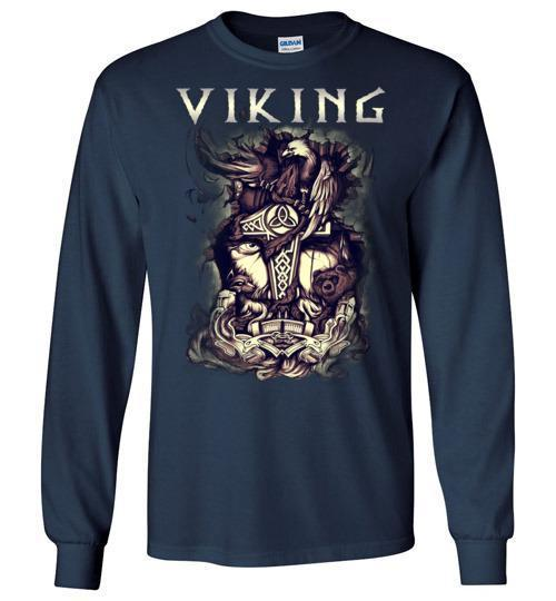 bavipower-viking-jewelry-Viking T-shirt BVP001-BaViPower-Gildan Long Sleeve T-Shirt-Navy-S-BaViPower