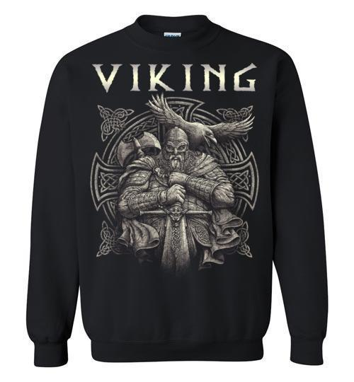 bavipower-viking-jewelry-Viking T-shirt BVP002-BaViPower-Gildan Crewneck Sweatshirt-Black-S-BaViPower
