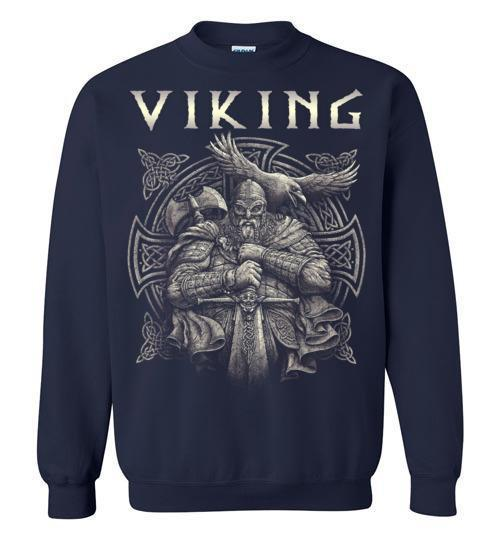 bavipower-viking-jewelry-Viking T-shirt BVP002-BaViPower-Gildan Crewneck Sweatshirt-Navy-S-BaViPower
