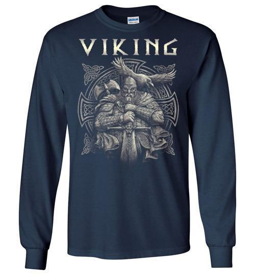 bavipower-viking-jewelry-Viking T-shirt BVP002-BaViPower-Gildan Long Sleeve T-Shirt-Navy-S-BaViPower