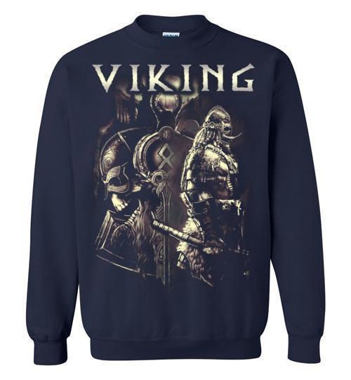bavipower-viking-jewelry-Viking T-shirt BVP003-BaViPower-Gildan Crewneck Sweatshirt-Navy-S-BaViPower