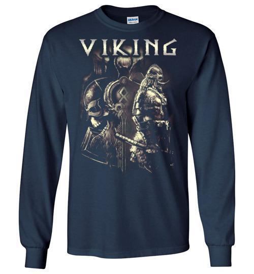 bavipower-viking-jewelry-Viking T-shirt BVP003-BaViPower-Gildan Long Sleeve T-Shirt-Navy-S-BaViPower