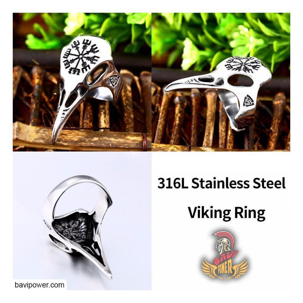Viking Vegvisir Compass Raven Skull Ring