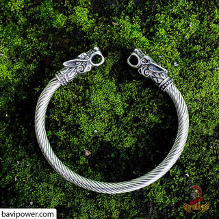 Viking Wolf Head Flexible Bracelet