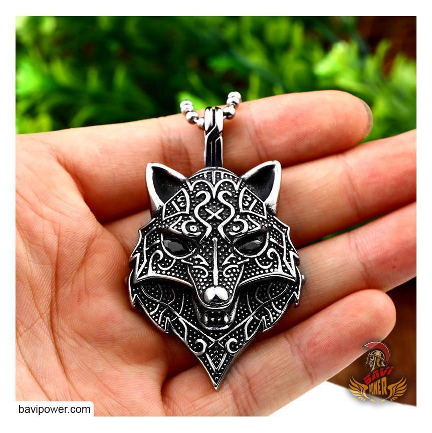 Viking Wolf Head Pendant Necklace