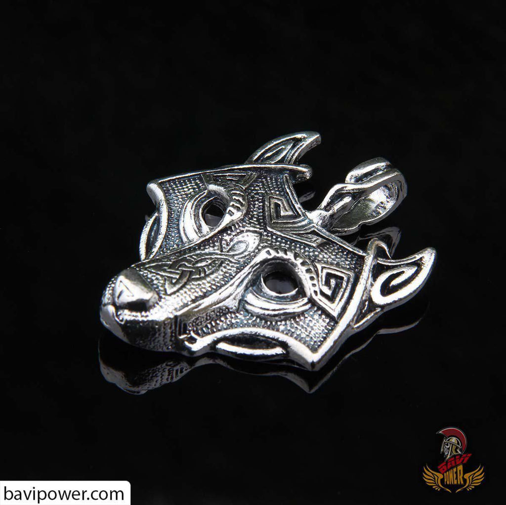 Viking Wolf Head Pendant