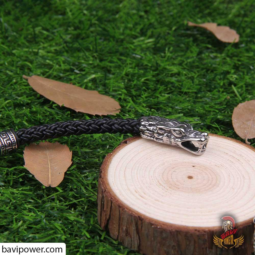 Wolf Head Handmade Leather Braided Torc Necklace