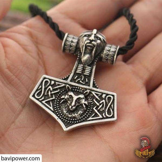 Wolf Thor's Hammer Mjolnir Odins Norse Pendant