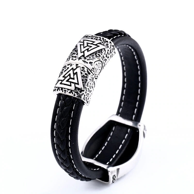 316L Stainless Steel Helm of Awe Viking Aegishjalmur Rune Bracelet