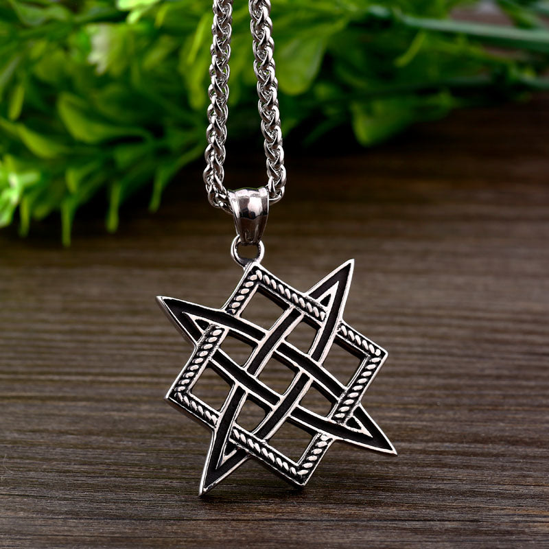 Stainless Steel Slavic Lada Star Viking Sun Pendant Necklace