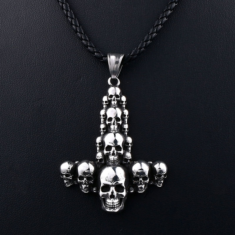 Stainless Steel Viking Mjolnir Thor Hammer Skull Pendant Necklace