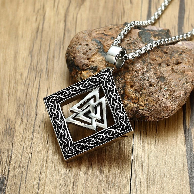 Stainless Steel Viking Odin Valknut Pendant Necklace with Box Chain