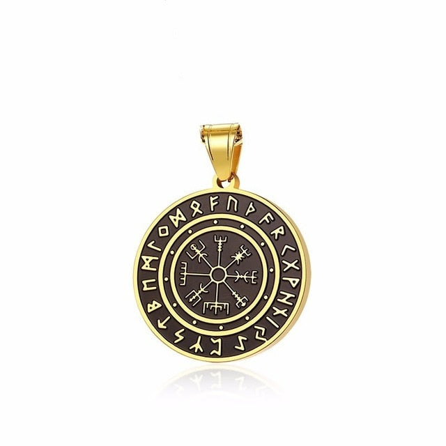 Stainless Steel Gold Tone Vegvisir Rune Pendant Necklace with Wheat Chain