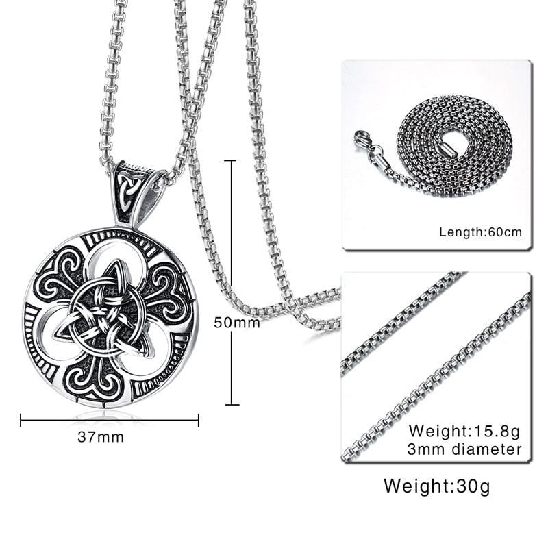 Stainless Steel Celtic Triquetra Pendant Necklace with Box Chain