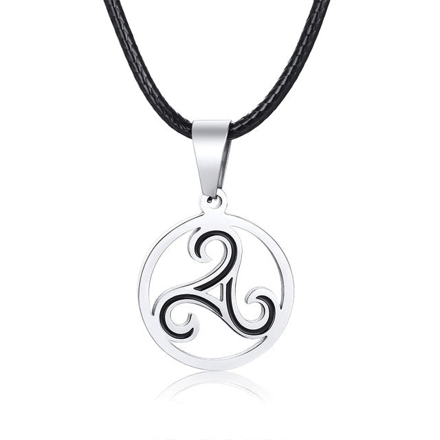 Stainless Steel Celtic Triskele Trinity Knot Pendant Necklace