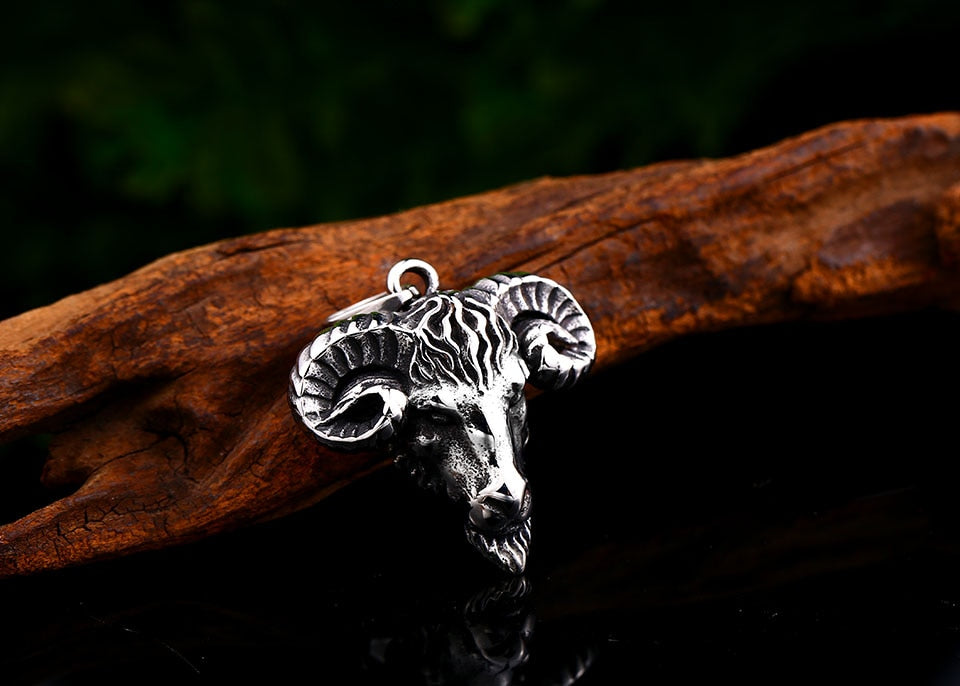 316L Stainless Steel Viking Nordic Sheep Head Pendant Necklace
