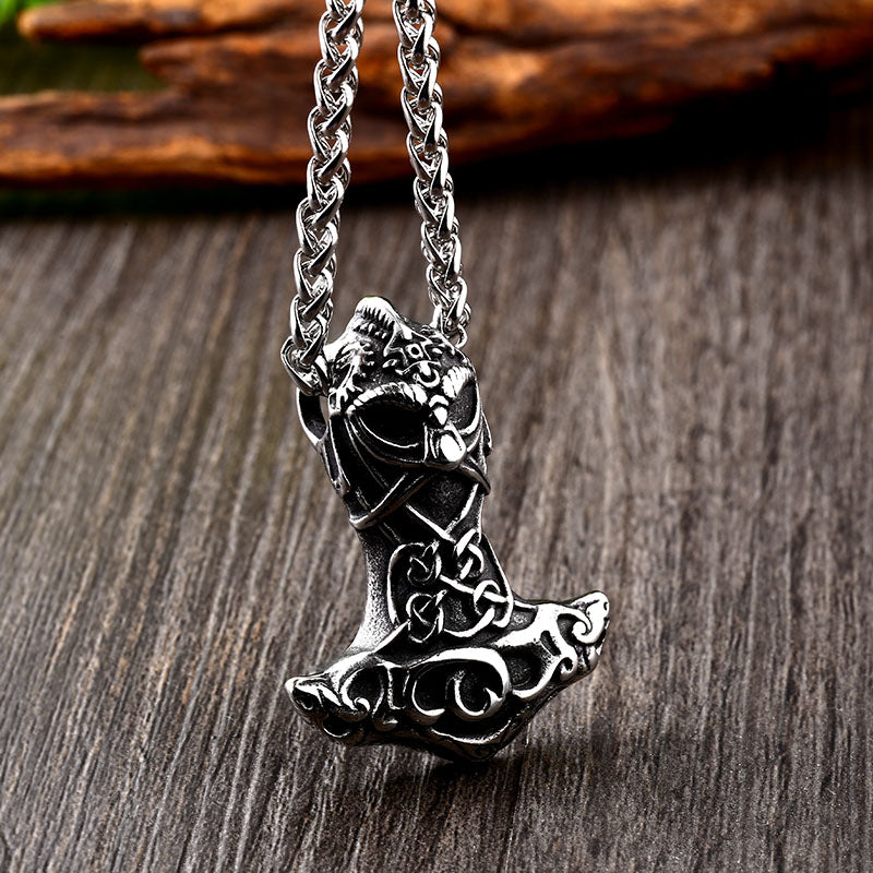 Stainless Steel Thor Mjolnir Hammer Warrior Helmet Pendant Necklace