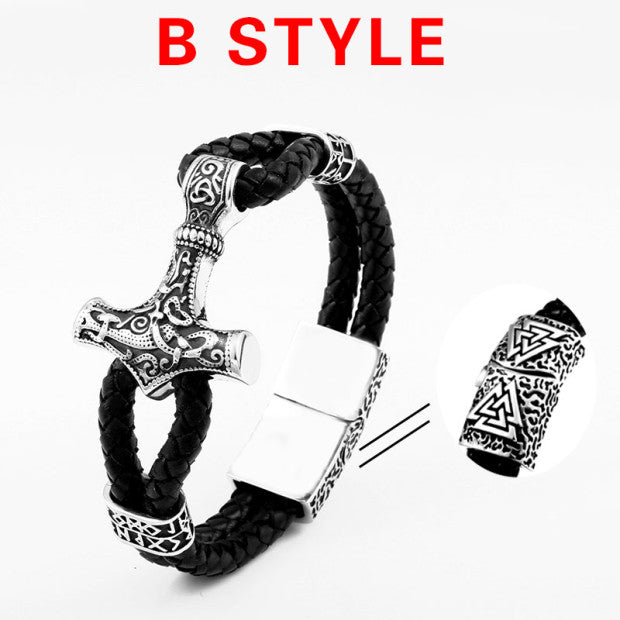 316L Stainless Steel Thor Hammer Mjolnir Leather Braided Bracelet
