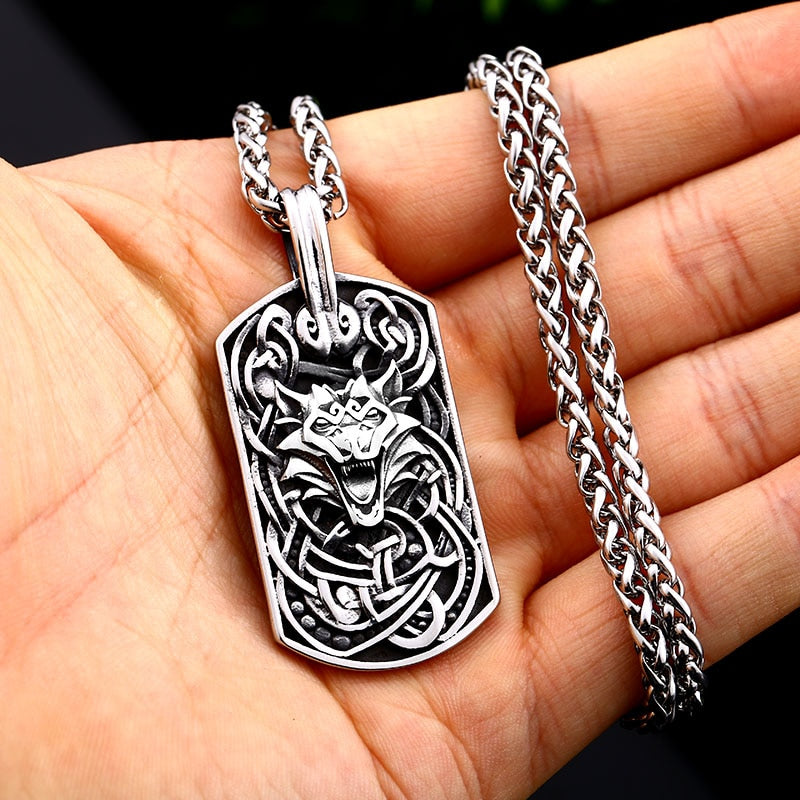 316L Stainless Steel Viking Nordic Fenrir Wolf Head Pendant Necklace