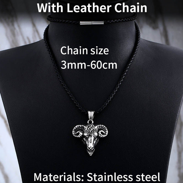 316L Stainless Steel Scandinavian Viking Sheep Head Amulet Pendant Necklace