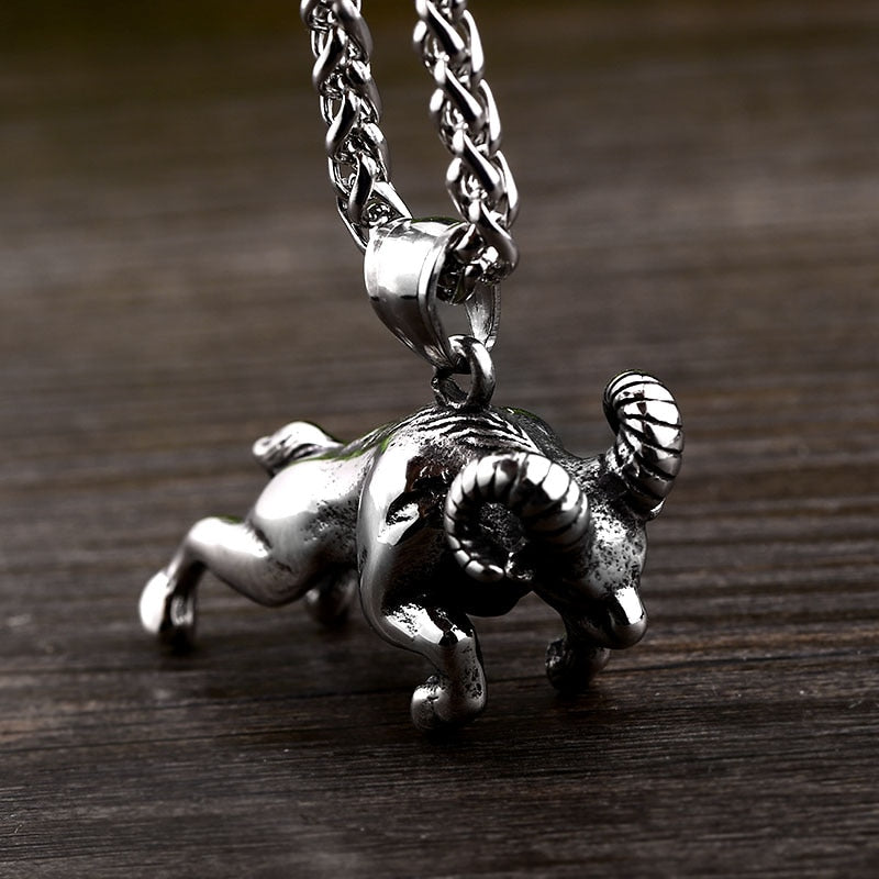 Stainless Steel Viking Scandinavian Thor Goat Pendant Necklace