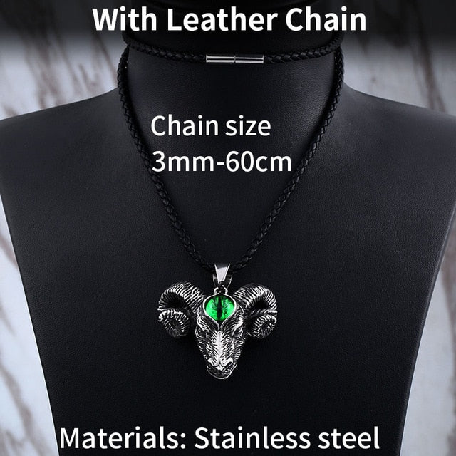 316L Stainless Steel Nordic Viking Thor Goat Head Pendant Necklace with Evil Eye