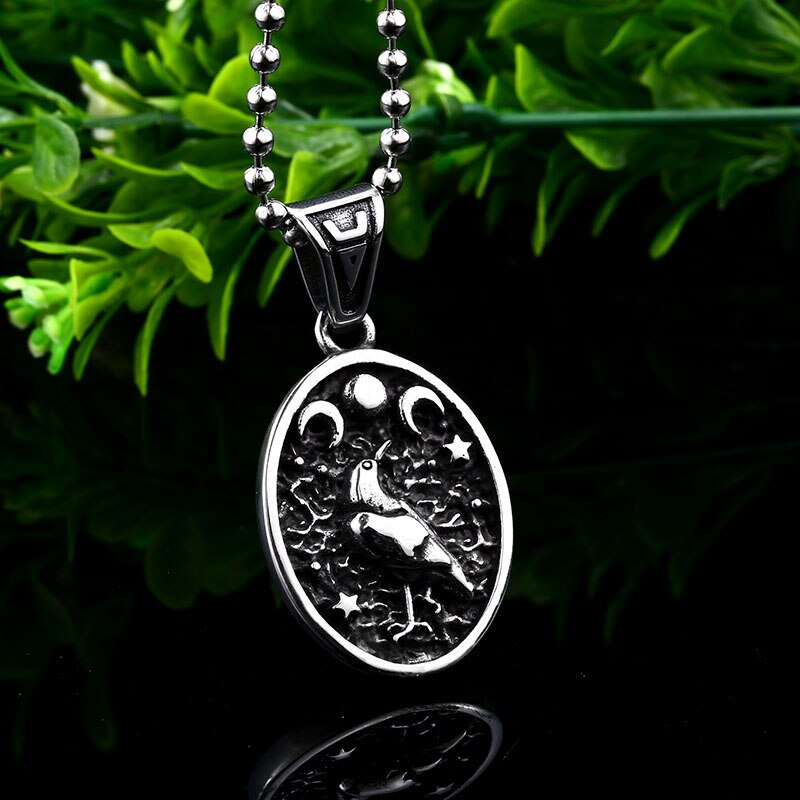 BaviPower Stainless Steel Viking Odin Raven Sun Moon Pendant Necklace Nordic Ideal Charm