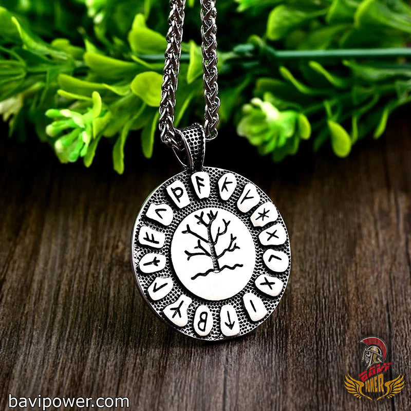 BaviPower Stainless Steel Viking Yggdrasil Tree of Life Rune Circle Pendant Necklace Nordic Charm