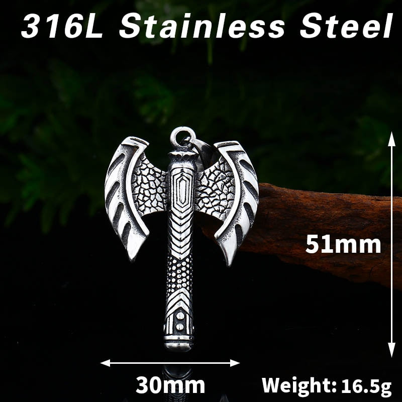 316L Stainless Steel Viking Double Ax Pendant Necklace