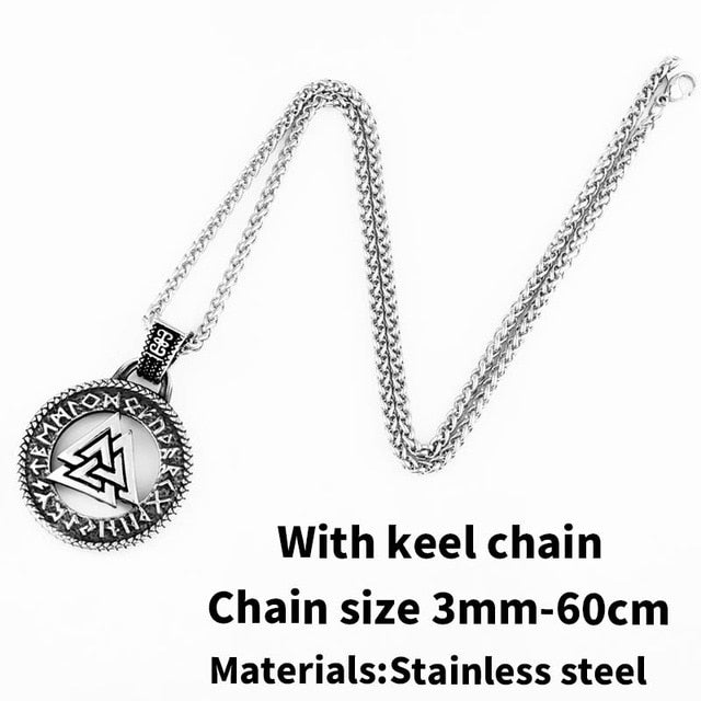 Stainless Steel Odin Valknut Rune Circle Pendant Necklace