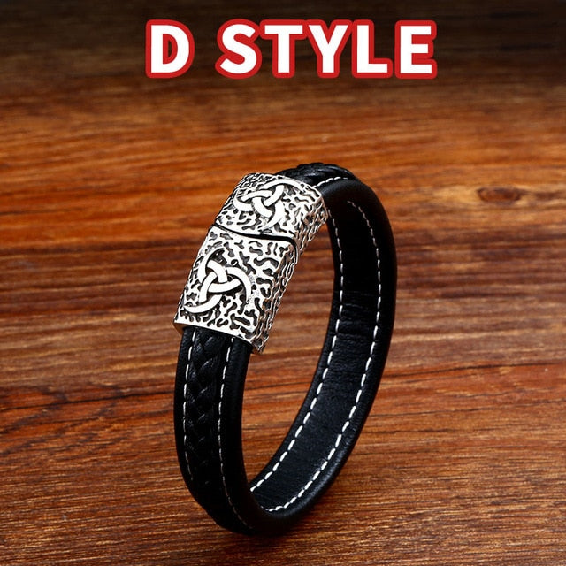 BaviPower Double Valknut Odin Symbol Braided Bracelet Nordic Ideal Charm Authentic Viking Jewelry