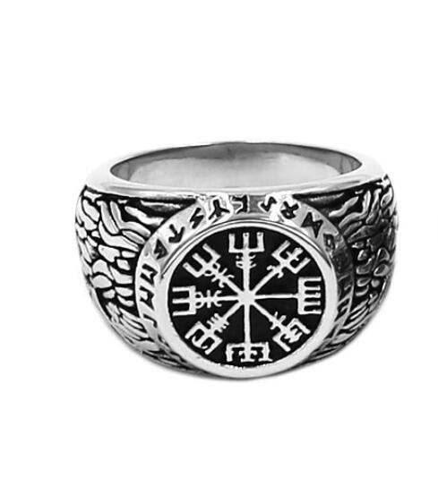 Stainless Steel Viking Vegvisir Rune Signet Ring