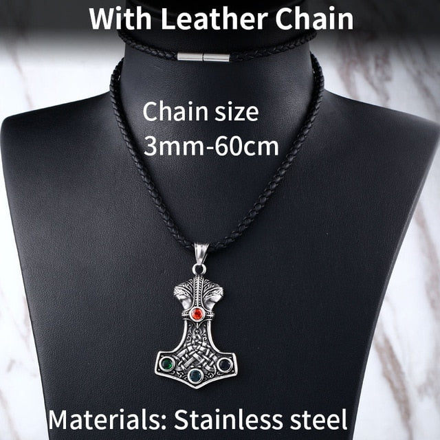 Stainless Steel Thor Hammer Mjolnir Pendant Necklace with Gemstone