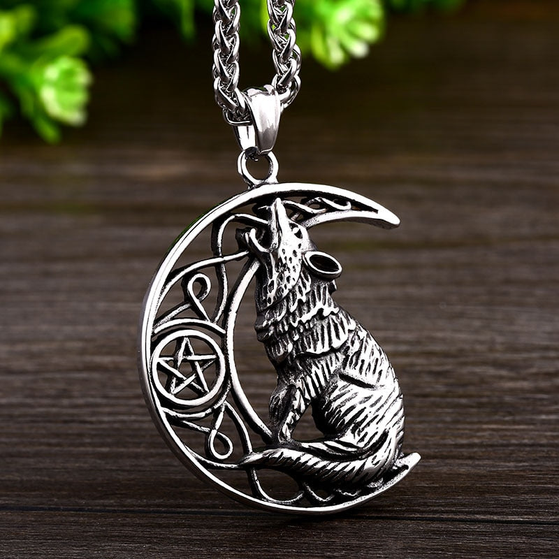 Stainless Steel Viking Howling Wolf Pentagram Moon Pendant Necklace