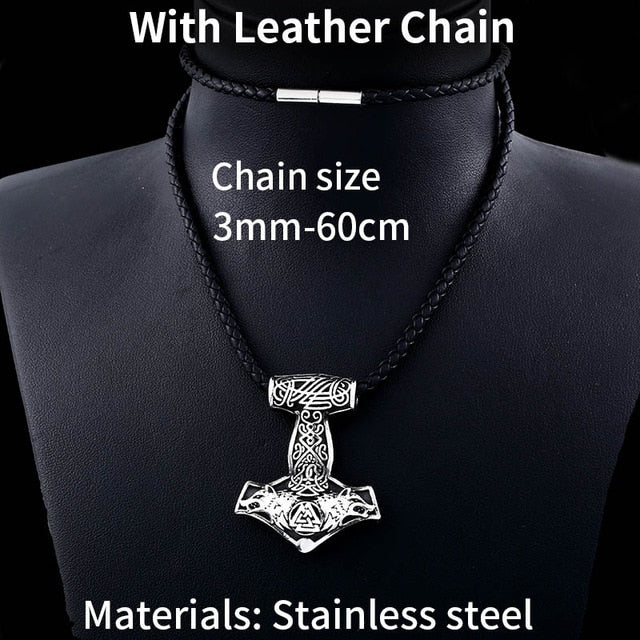 Stainless Steel Thor Hammer Valknut Wolf Head Pendant Necklace