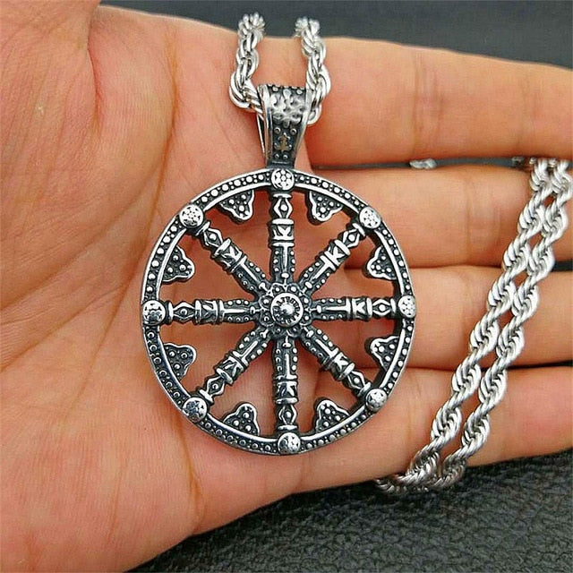 Stainless Steel Viking Rudder Wheel Pendant Necklace with Twisted Chain