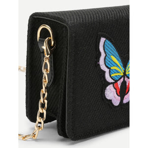 Butterfly Embroidery Flap Chain Bag