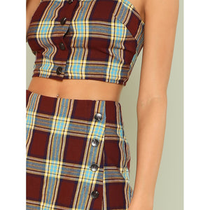 Button Detail Plaid Crop Top & Skirt Shorts Set