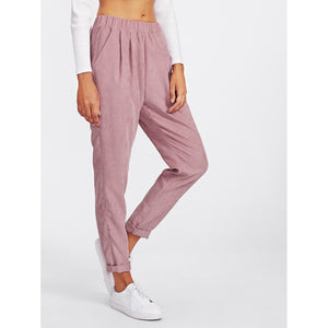 Faux Flap Pocket Back Cord Peg Pants