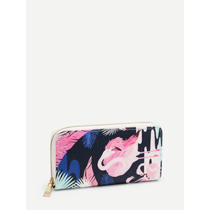 Flamingo Print PU Purse